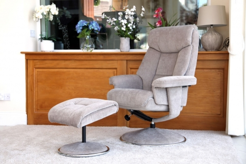 Naples Swivel Recliner & Footstool - Plush or Fabric