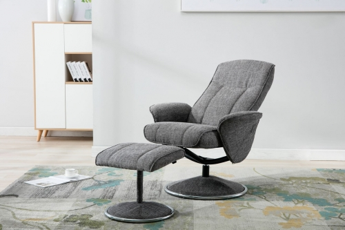 Urbino Fabric Swivel Recliner & Footstool
