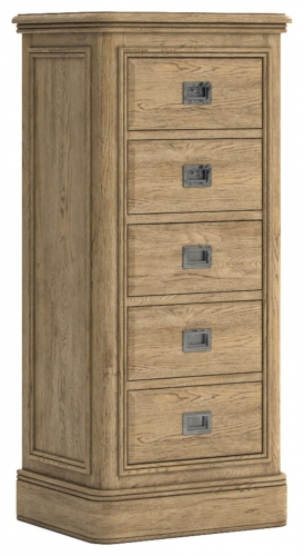 Biarritz French Oak 5 Drawer Tall Chest