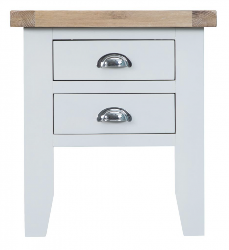 Thornton Painted White with Oak Top Lamp Table