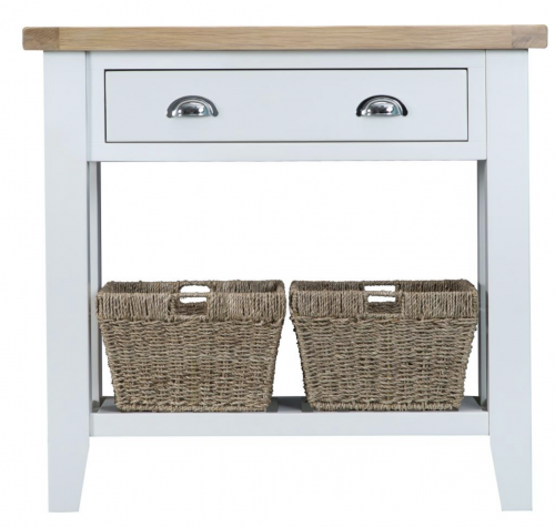 Thornton Painted White with Oak Top Console Table