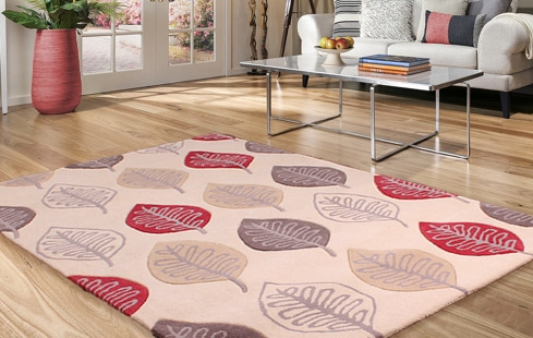 New Wool Modern Leaf Red Rugs