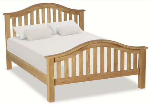 Country Rustic Waxed Oak 4'6 Double Classic Slatted Bed
