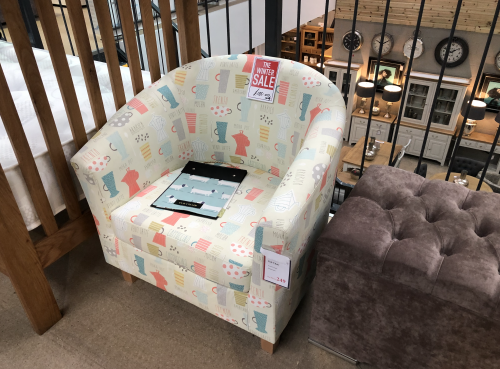 Tub Accent Chair - Americano Multi with Light Legs