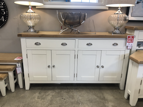 Thornton Painted White with Oak Top 4 Door Sideboard