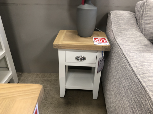 Thornton Painted White with Oak Top Side table