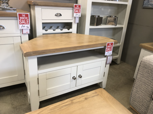 Thornton Painted White with Oak Top Corner TV Unit