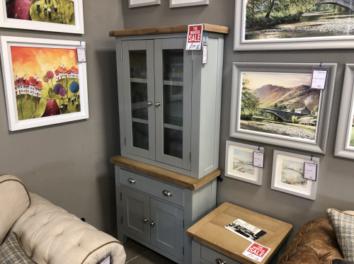 Thornton Painted Grey with Oak Top Small Dresser Top and Small Sideboard