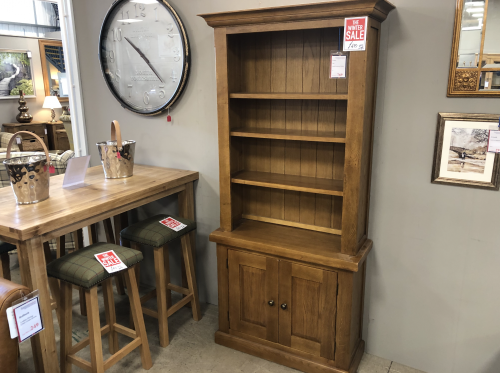 Priory Oak Tall Bookcase With Cupboard
