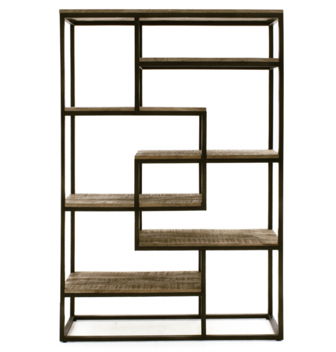 Industrial Mango Wood Bookcase - Tall Wide