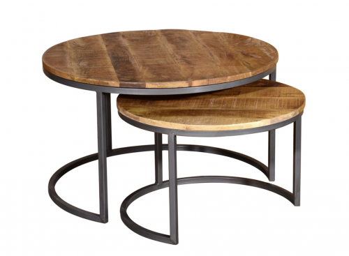 Industrial Mango Wood Coffee Table Set
