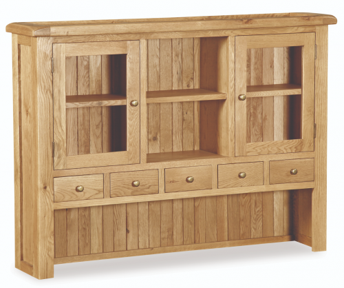 Country Rustic Waxed Oak Large Hutch