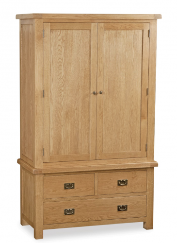 Country Rustic Waxed Oak Gents 3 Drawer Wardrobe