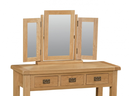 Country Rustic Waxed Oak Triple Mirror