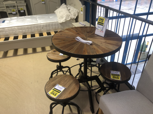 Urban Metal Crank Bar and Counter Table & 4 Stools