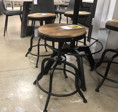 Urban Round Adjustable Metal Crank Stool