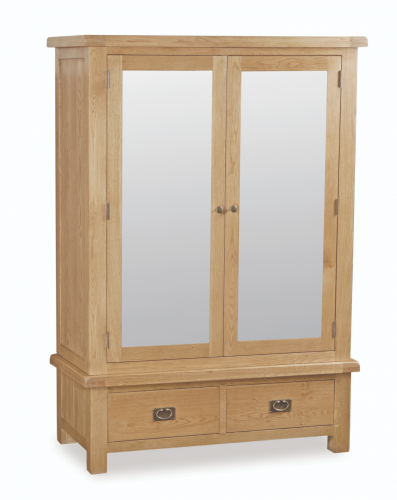 Country Rustic Waxed Oak Wide Mirrored Wardrobe