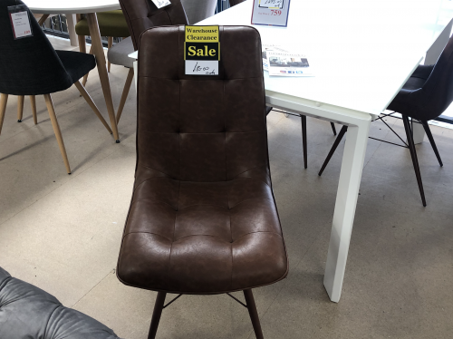 Howey Dining Chair - Brown Leather