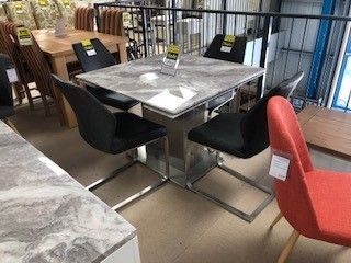 Sicily Marble & Steel Square Extending Dining Table