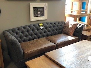 Douglas 3 Seat Leather and Tweed Sofa