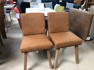 Harrington Dining Chair - Brown with Oak Leg