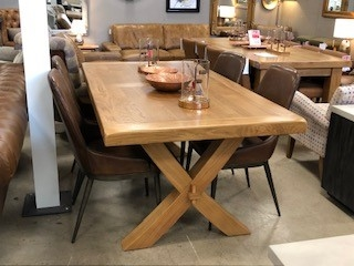 Country Rustic Waxed Oak Cross Dining Table