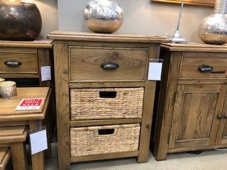 Farnley Solid Oak Small Console with 1 Drawer & 2 Baskets