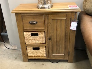 Farnley Solid Oak Compact Sideboard with Baskets