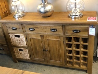 Farnley Solid Oak Large Sideboard with Wine Rack & Baskets