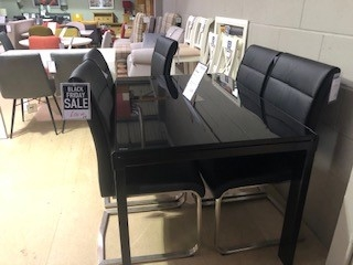Phoenix Glass Black Extending Dining Table
