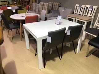 Phoenix Glass White Extending Dining Table