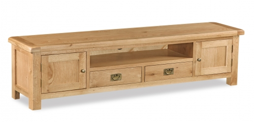 Country Rustic Waxed Oak Extra Large Low Line TV Unit