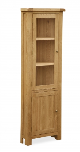 Country Rustic Waxed Oak Glazed Corner Cupboard