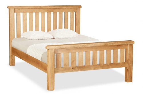 Country Rustic Waxed Oak 4'6 Double Slatted Bed