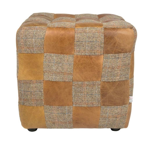 Heritage Patchwork Footstool - Gamekeeper Thorn/Brown Cerato Mix