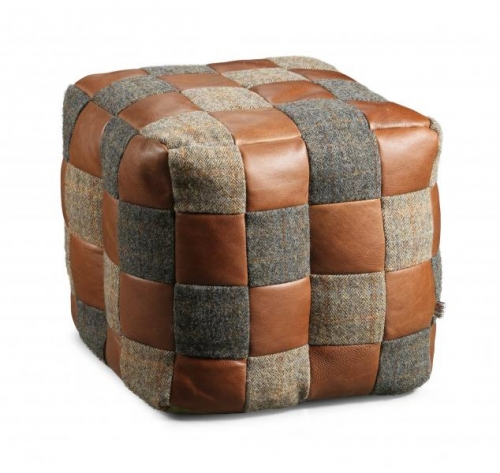 Heritage Harris Tweed and Leather Beanbag
