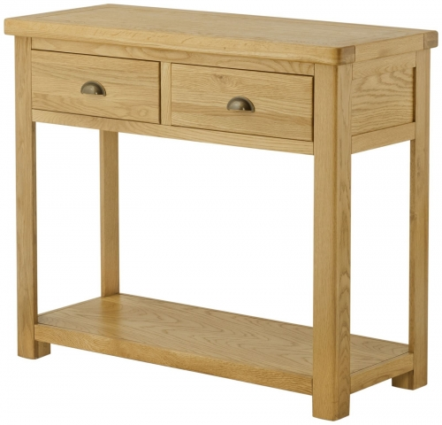 Brompton Oak 2 Drawer Console Table