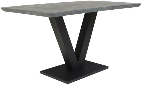 Telford Industrial Small Fixed Top Dining Table- Manhattan finish