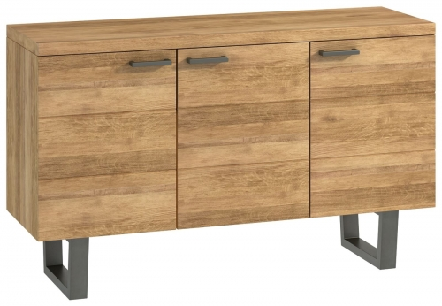 Telford Industrial Oak 3 Door Sideboard