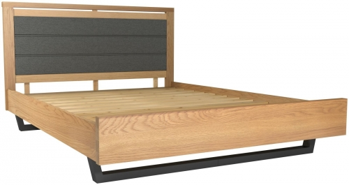 Telford Industrial Oak 4'6 Double Upholstered Bed