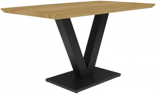 Telford Industrial Small Fixed Top Dining Table - Oak finish