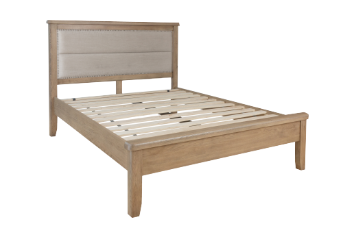 Milby Oak 4'6 Double Bed With Fabric Headboard
