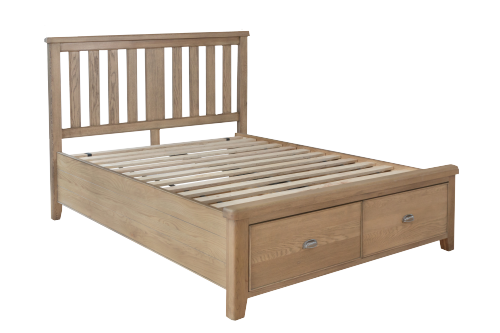 Milby Oak 4'6 Double Bed With Drawers