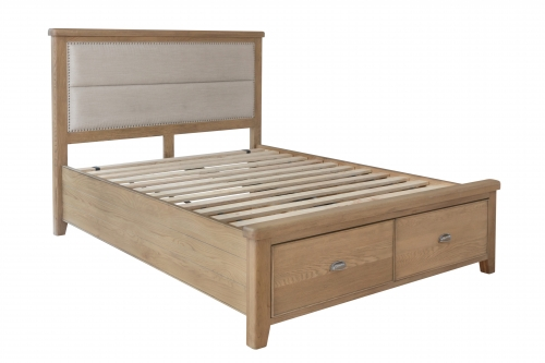 Milby Oak 4'6 Bed With Fabric Headboard and Drawers