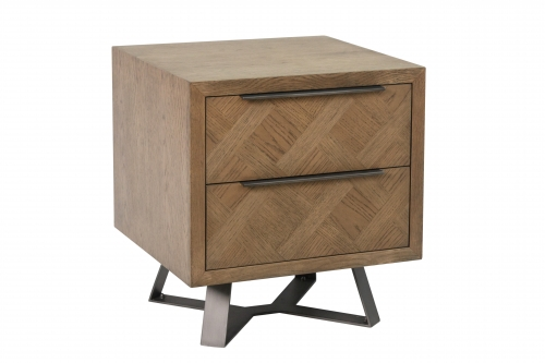 Detroit Parquet Oak 2 Drawer Side Table