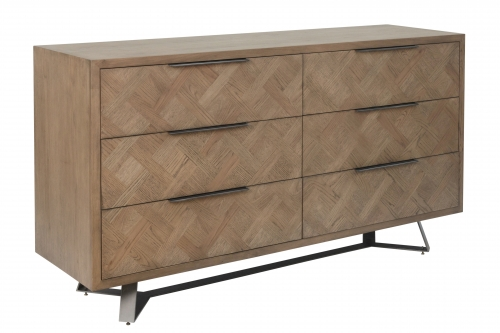 Detroit Parquet Oak 6 Drawer Chest