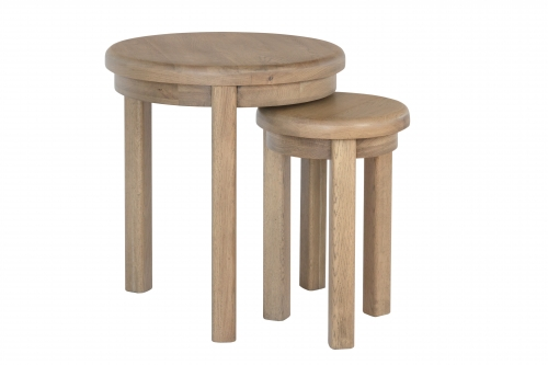 Milby Grey Oak Round Nest of Tables