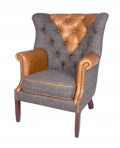 Heritage Churchill Wing Chair - Uist Night & Leather FT