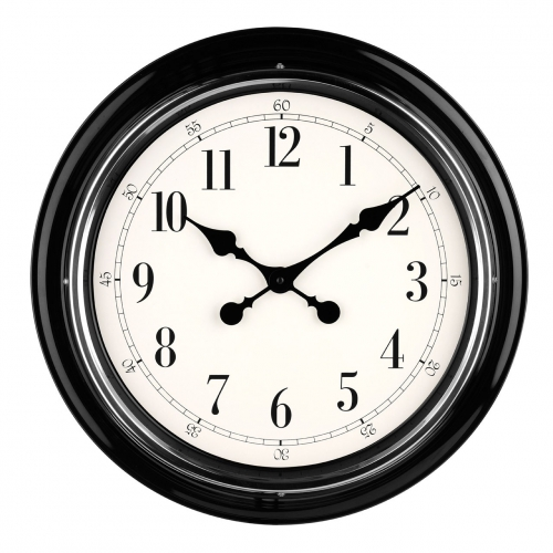 Black and Chrome Metal Wall Clock