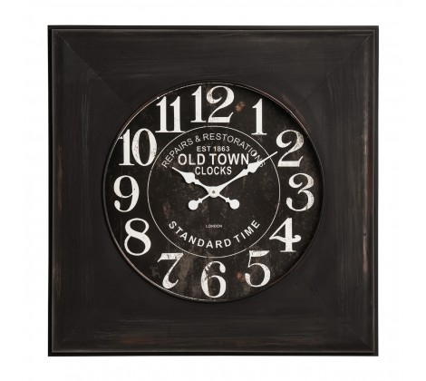 Distressed Black Wood Wall Clock